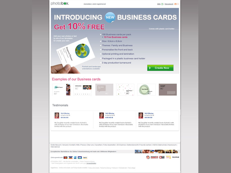 Landing page design examples business card landing page reheart Choice Image